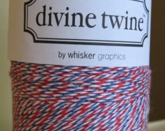 Divine Twine Bakers Twine 1 Full Spool 240 Yards Red White and Blue  Made in the USA