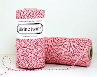 Divine Twine Peppermint Bakers Twine 1 Full Spool  240 Yards Made in USA