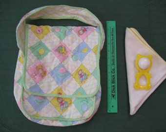 Vintage 1980s Cabbage Patch Kids diaper bag with extras
