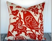 PAIR of Thomas Paul Aviary Tangerine, Moss, Maize Pillow Covers /  18x18 or 20x20 / Birds