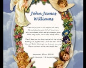 Little Angel Large Framed Birth Announcement