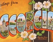 Greetings from Georgia Vintage Large Letter Postcard Giclee Print, 11.5x18