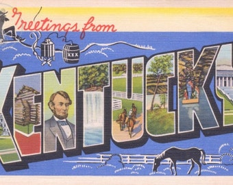 Greetings from Kentucky Vintage Large Letter Postcard Giclee Print