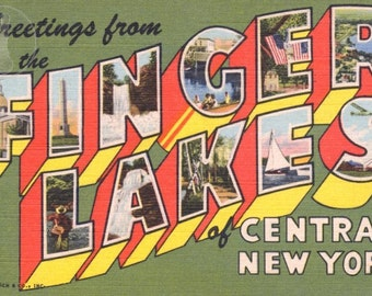 Greetings from The Finger Lakes, Central New York Vintage Large Letter Postcard Giclee Print, 12x18