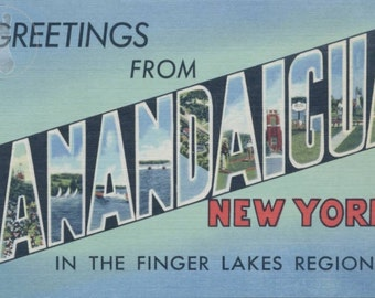 Greetings from Canandaigua, New York in the Finger Lakes Region Vintage Large Letter Postcard Giclee Print