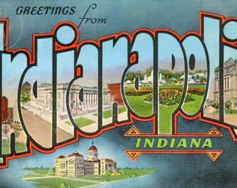 Greetings from Indianapolis, Indiana. Fun, Kitsch Vintage Large Letter Postcard Giclee Print