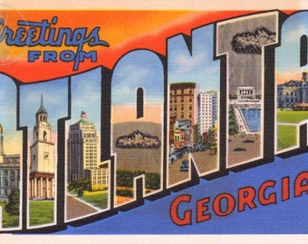 Greetings from Atlanta, Georgia Kitsch Vintage Large Letter Postcard Giclee Print, Orange and Blue