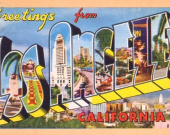 Greetings from Los Angeles, California Vintage Large Letter Postcard Giclee Print