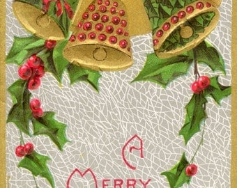 Vintage Christmas Art - Holiday print from an antique postcard showing bells, holly and a seasonal message. Silver and gold.
