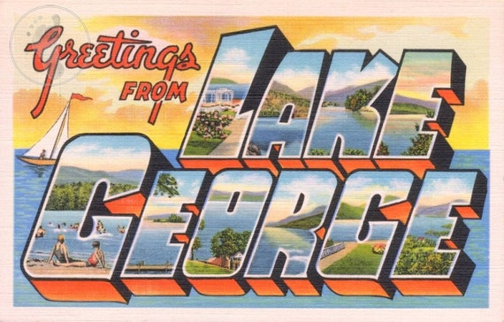 Lake George Adirondack Mountains Upstate New York Vintage Large Letter Postcard Giclee Print