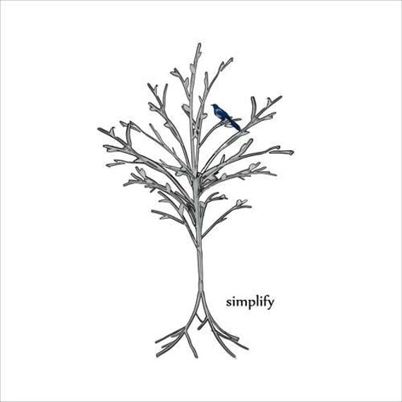 SIMPLIFY - Bluebird perched in a tree. Giclee Print.  Gray, black and white, meet a splash of blue.