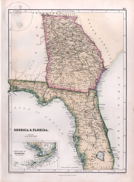 Antique Map Of Florida And Georgia 1867 Black39s Atlas By