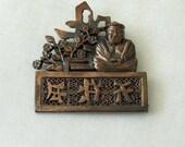 Vintage asian copper brooch