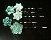 Sea Siren Mother of Pearl Hair Pins -- Set of 5 for Bridesmaids