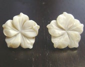 Tropical Flower White Mother of Pearl Earrings