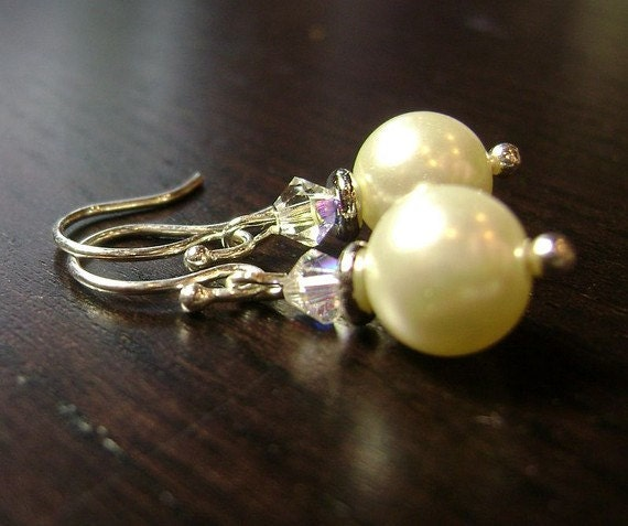 White Shadows Pearl Dangle Earrings
