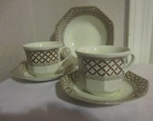 Brown Wicker Pattern cups and saucers