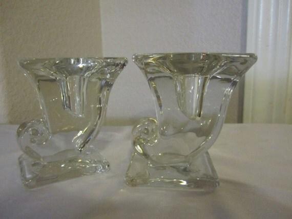 Solid Glass Vintage Candleholders