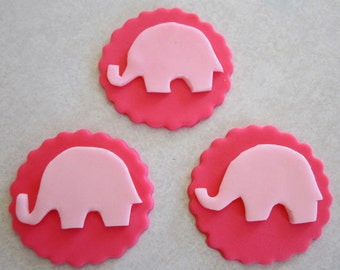 PInk Elephant  Silhouette Toppers - 1 Dozen