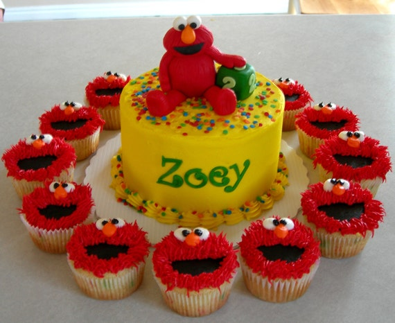 Elmo Cake And Cupcake Toppers