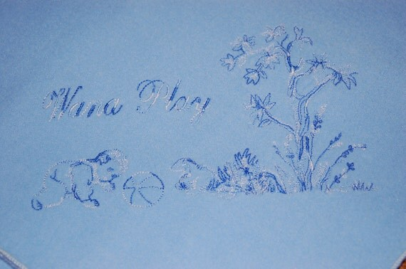 Flannel Receiving Baby Blanket, Blue with Embroidered Blue and White Toile Design Wana Play