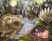 Fairy Tale, Art, Reproduction, Thumbelina, Toad, Fireflies, 5x7 print