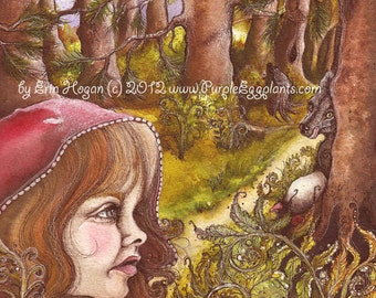 Fairy Tale, Red Riding Hood, Art, Reproduction, 8x10, Print