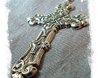 Ornate Silver Ox Cross (x2)