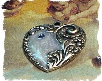 Enameled Heart Charm in Silver Ox (x2)