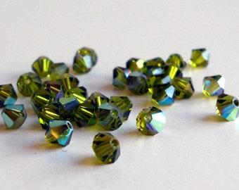 4mm Olivine Ab Swarovski bicone beads (x24)