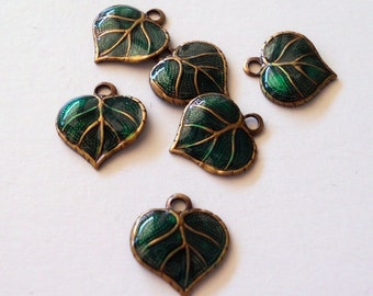 Enameled Brass Ox  Leaves (x4)