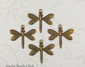 Dragonfly Charm brass ox (x4)