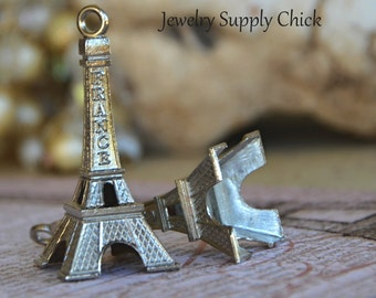Eiffel Tower charm pendant (x2)