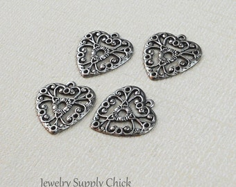 Silver ox filigree heart (x4)