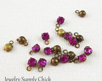 Fuchsia crystal 4mm drop (x12)