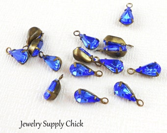 Swarovski Sapphire crystal teardrop setting (x6)