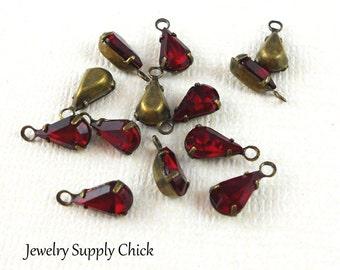 Swarovski Siam crystal teardrop (x6)