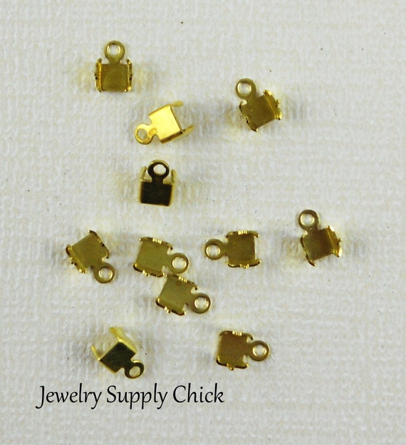 3mm Rhinestone chain crimp end connector (x6+)