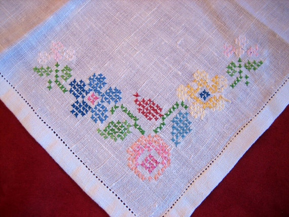 Hand Embroidered Hankie - Cross Stitch Flowers