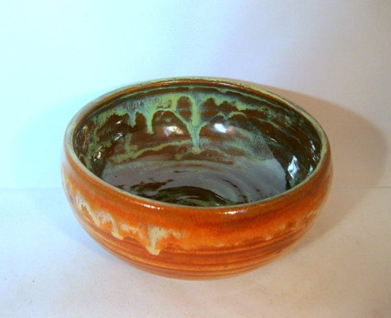 Pottery Soup Bowl Earthy Copper with Green, Handmade Stoneware Bowl