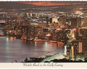 Waikiki Beach in the Early Evening, vintage postcard