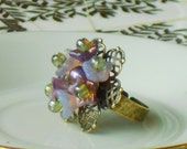 Cinderella Vintage/ Antique Style Bronze Filigree Lavender Purple Flower Ring, Hyacinth, Adjustable Band, Made to Order
