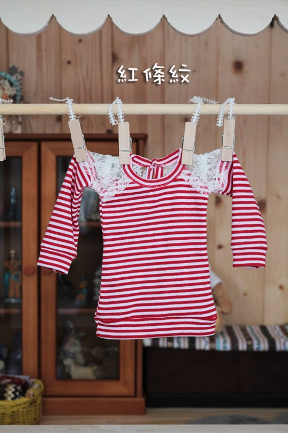 SAYOKO outfit 10SD dollfie 1/3 BJD Red Stripe Long sleeve Top No.A266