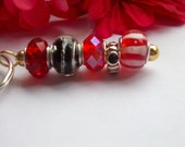 Sparkly Bling - Glass Bead Black Onyx and Ruby Red Keychain Fob