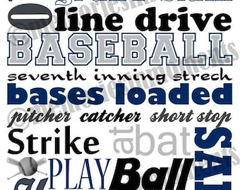 Baseball Subway Art - Blue, Silver and Black