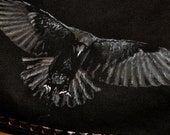 SALE 15% off. Raven black vegan messenger style cross body handbag - One of a Kind