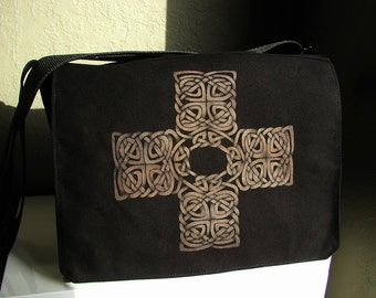SALE! 15% OFF! Celtic cross black vegan messenger style cross body handbag - One of a Kind
