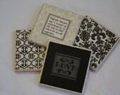 Coaster-Stone Coaster Damask Gift Set of 4 Coasters