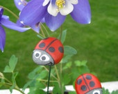 Ladybug Plant Sticks - Hand Painted, Lake Superior Basalt Stones - Great gift for Gardeners, Green Thumbs, Neighbors... outdoor safe!