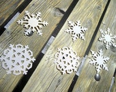 100 WHITE SNOWFLAKE Die Cuts, Winter Wedding Snowflake Embellishments, Winter Birthday Snowflake Cutouts by EnchantedFotest7
